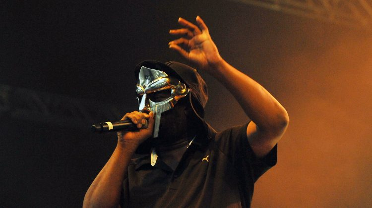LONDON, ENGLAND - JULY 23: Rapper MF Doom performs live on stage during the first day of the 'I'll Be Your Mirror' festival, curated By Portishead & ATP, at Alexandra Palace on July 23, 2011 in London, United Kingdom. (Photo by Jim Dyson/Redferns)