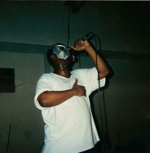 MF DOOM, early mask, On the mic, white t